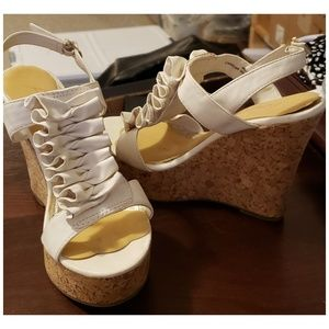 Shoes - High Platform white leather cork sole shoes size 5